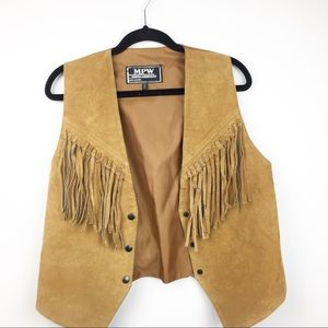SZ M Suede Leather Camel Fringe Vest